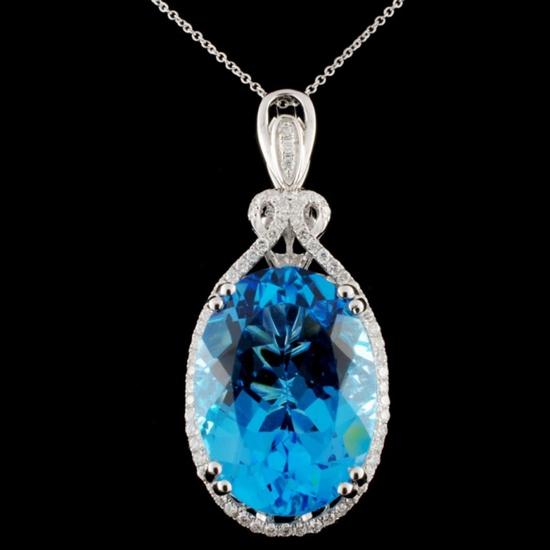 14K Gold 27.54ct Blue Topaz & 0.55ctw Diamond Pend