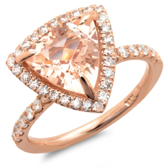 14K Gold 3.00ct Morganite & 0.65ct Diamond Ring
