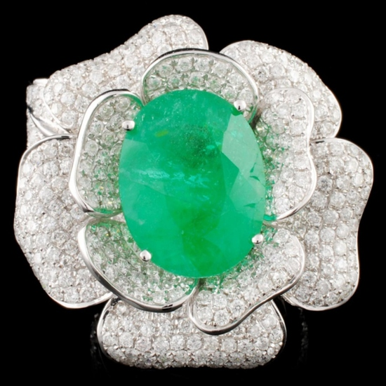 18K Gold 11.21ct Emerald & 5.52ctw Diamond Ring