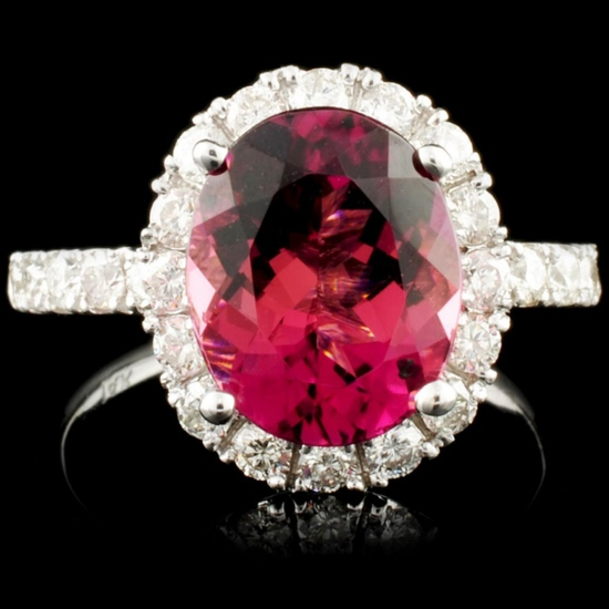 14K Gold 3.36ct Tourmaline & 1.10ctw Diamond Ring