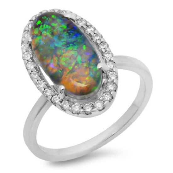 14K Gold 3.00ct Opal & 0.35ct Diamond Ring