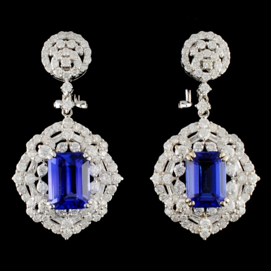 18K Gold 6.22ctw Tanzanite & 3.65ctw Diamond Earri