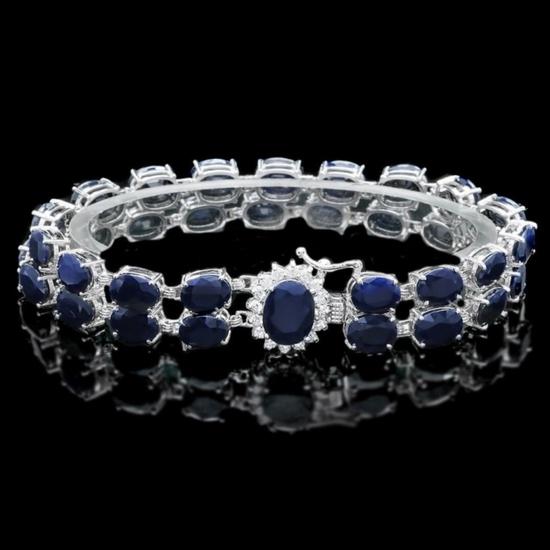 14k Gold 50.00ct Sapphire & 0.55ct Diamond Bracel