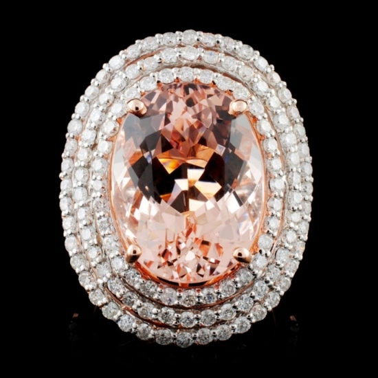 14K Rose Gold 9.97ct Morganite & 1.79ct Diamond Ri