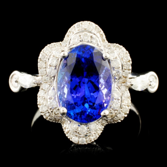18K Gold 3.31ct Tanzanite & 0.61ctw Diamond Ring