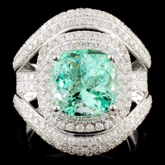 18K Gold 3.87ct Emerald & 2.13ctw Diamond Ring