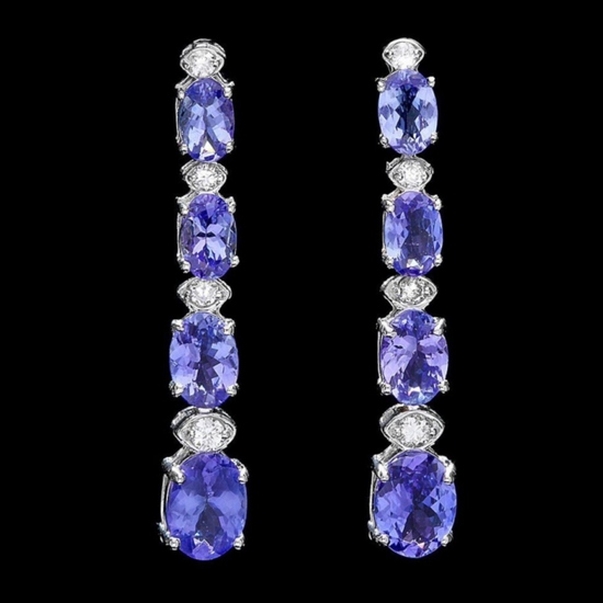 14k Gold 7.00ct Tanzanite & 0.50ct Diamond Earrin