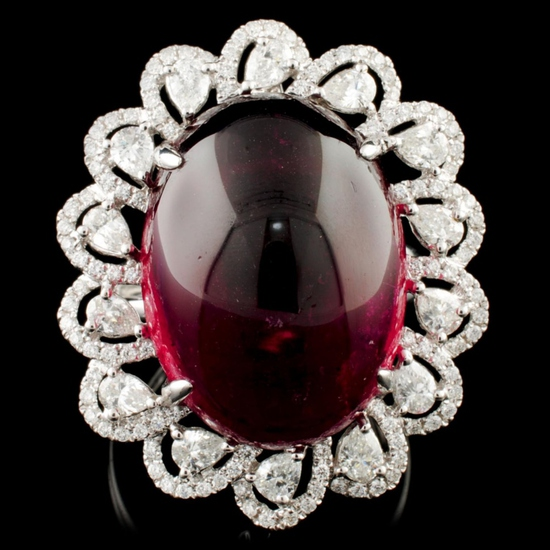 18K Gold 25.37ct Rubellite & 1.60ctw Diamond Ring