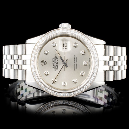 Rolex SS DateJust 36mm Diamond Wristwatch