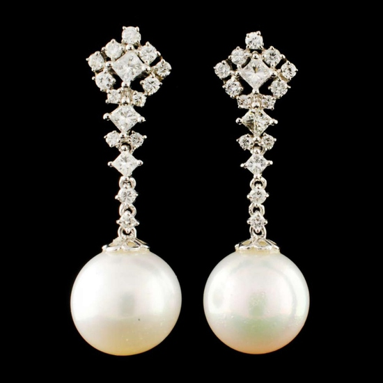 18K Gold 11.00MM Pearl & 0.92ctw Diamond Earrings