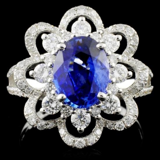 18K W Gold 2.00ct Sapphire & 0.98ct Diamond Ring