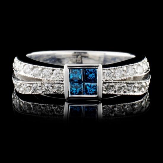 14K White Gold 0.64ctw Fancy Color Diamond Ring