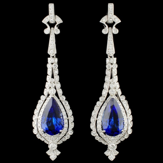 14K Gold 14.74ct Tanzanite & 3.19ctw Diamond Earri