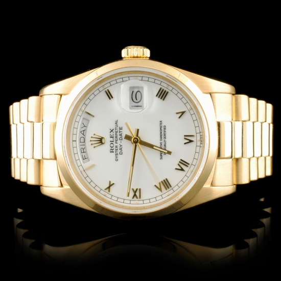 Rolex Day-Date 18K Gold White Roman 36MM Watch