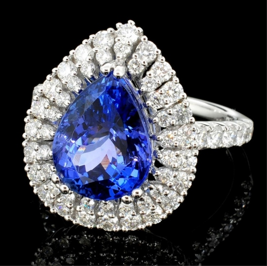 18K White Gold 3.97ct Tanzanite & 1.12ct Diamond R