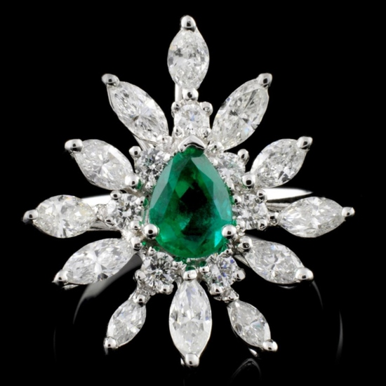 18K White Gold 0.73ct Emerald & 1.51ctw Diamond Ri
