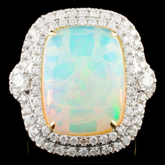 18K Gold 8.34ct Opal & 1.30ctw Diamond Ring