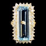 14K Gold 11.79ct Aquamarine & 1.32ctw Diamond Ring
