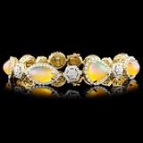 14K Gold 12.08ctw Opal & 3.08ctw Diamond Bracelet
