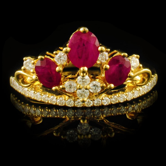 18k Yellow Gold 0.93ct Ruby & 0.27ctw Diamond Ring