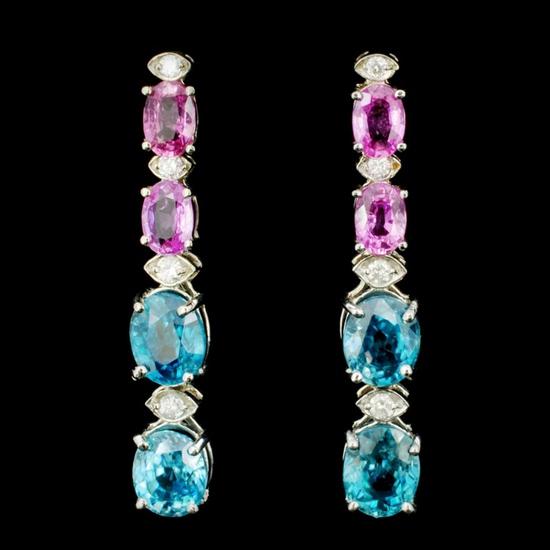 14K Gold 2.00ct Zircon & 0.35ctw Diamond Earrings