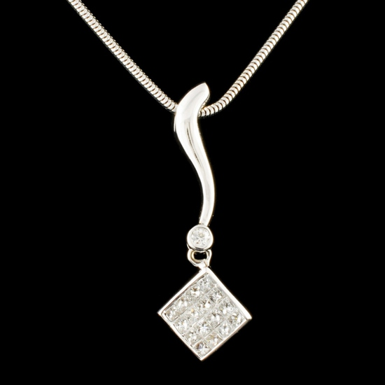 14K Gold 0.64ctw Diamond Pendant