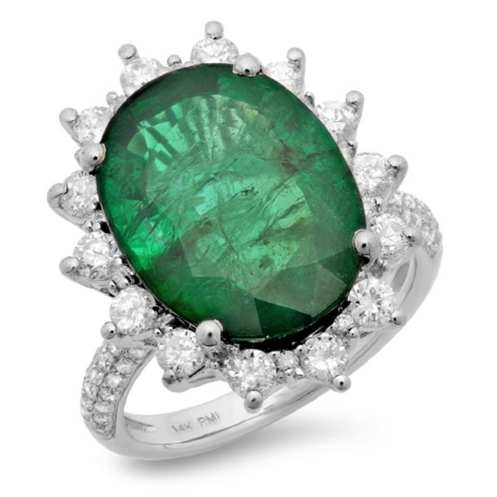 14K Gold 8.50ct Emerald & 1.15ct Diamond Ring