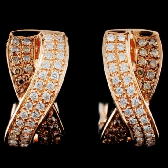 14K Gold 0.39ctw Fancy Diamond Earrings