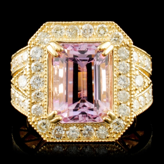 14K Gold 6.80ct Kunzite & 1.72ctw Diamond Ring