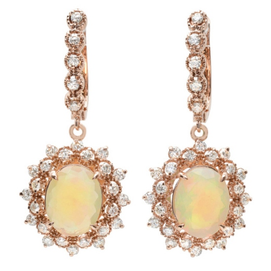 14K Gold 4.00ct Opal & 1.40ct Diamond Earrings