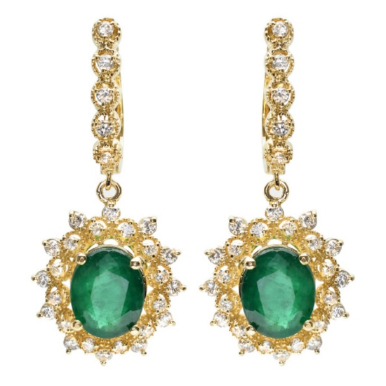 14K Gold 5.00ct Emerald & 1.25ct Diamond Earrings