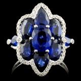 18K Gold 5.03ct Sapphire & 0.18ct Diamond Ring