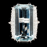 14K Gold 7.47ct Aquamarine & 0.46ctw Diamond Ring