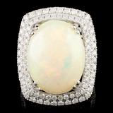 14K Gold 8.45ct Opal & 1.37ctw Diamond Ring