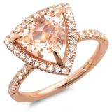 14K Gold 3.00ct Morganite & 0.65ct Diamond Ring