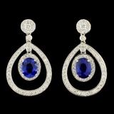 18K Gold 5.35ct Sapphire & 2.00ctw Diamond Earring