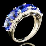 14K Gold 5.40ct Tanzanite & 0.58ctw Diamond Ring