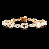 14K Gold 6.95ct Morganite & 1.25ctw Diamond Bracel
