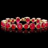 14k Gold 50.00ct Ruby & 1.50ct Diamond Bracelet