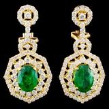 18K Gold 1.98ct Emerald & 1.85ctw Diamond Earrings