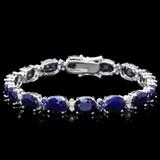 14k Gold 37.50ct Sapphire & 0.60ct Diamond Bracel
