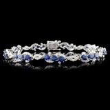 14K Gold 6.37ctw Sapphire & 1.21ctw Diamond Bracel
