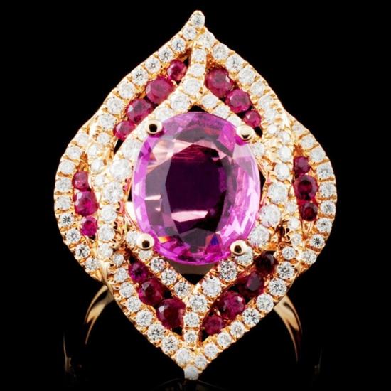 18K Gold 3.00ct Sapphire & 0.82ctw Diamond Ring