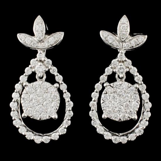 14K Gold 1.66ctw Diamond Earrings