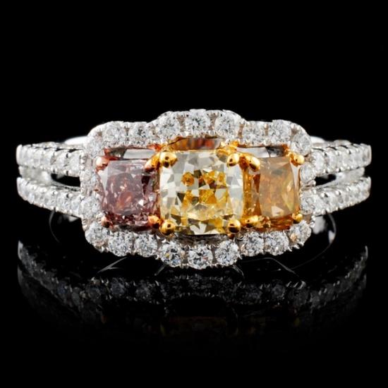 18K White Gold 1.70ctw Fancy Color Diamond Ring