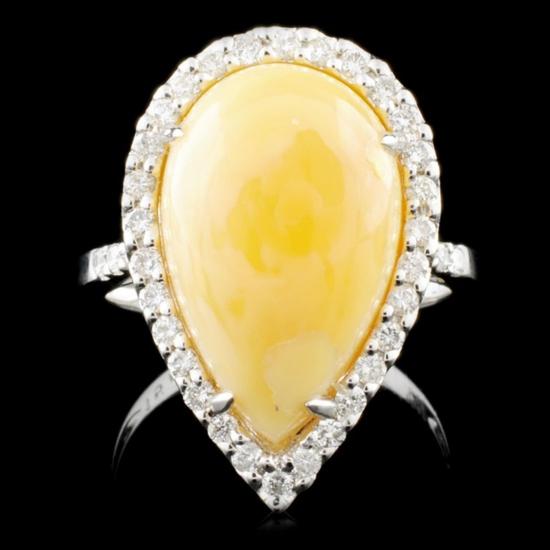 14K Gold 5.82ct Opal & 0.42ctw Diamond Ring