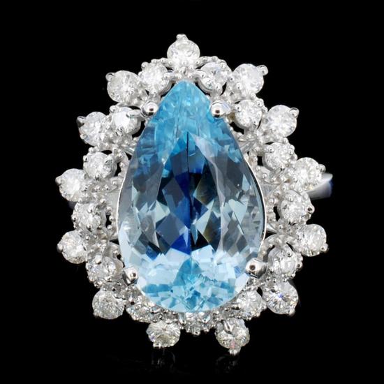 14K Gold 7.00ct Aquamarine & 1.20ctw Diamond Ring