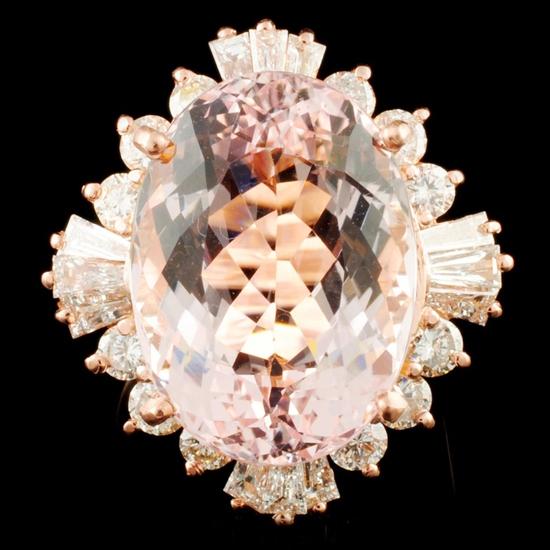 14K Gold 15.10ct Morganite & 2.18ctw Diamond Ring