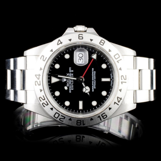 Rolex SS Explorer II Mens 40MM Wristwatch