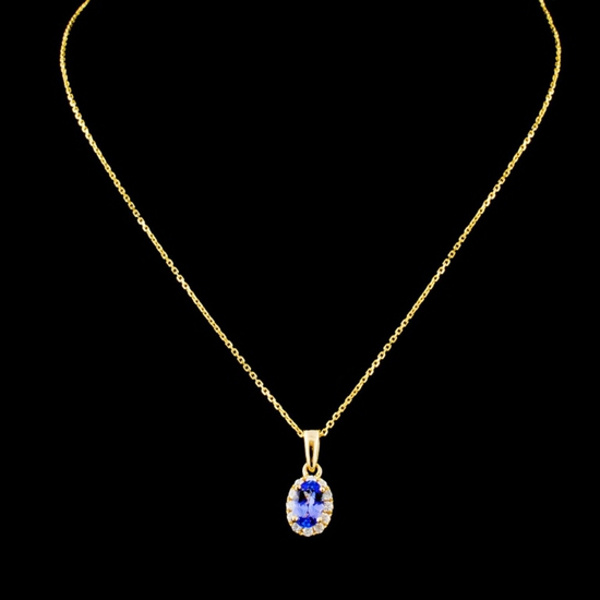 14K Gold 0.47ct Tanzanite & 0.19ctw Diamond Pendan